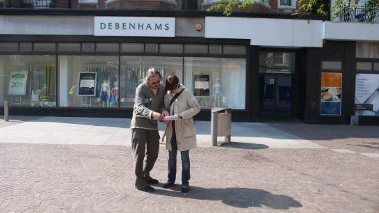 Martin and Leonie GPS-ing outside Debenhams