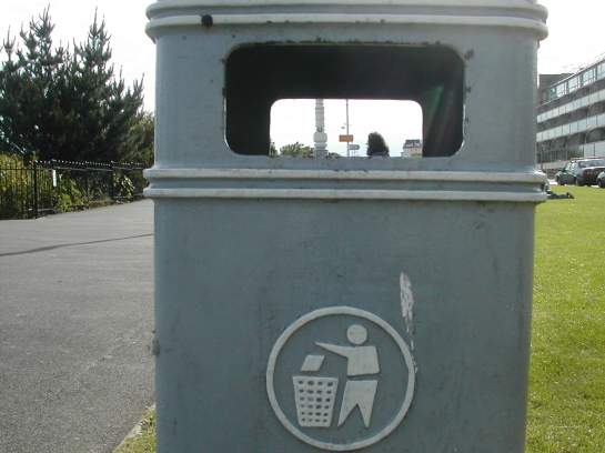 The Leas and a head through a litter bin